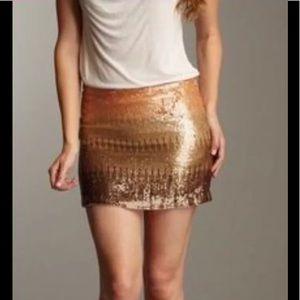Haute hippie silk gold sequin ombré mini skirt xs
